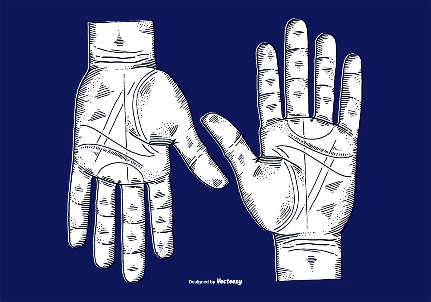 Vector Etched Hands Line Drawing Download Free Vector