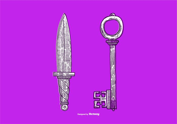 VECTOR KNIFE & KEY - LINE DRAWING
