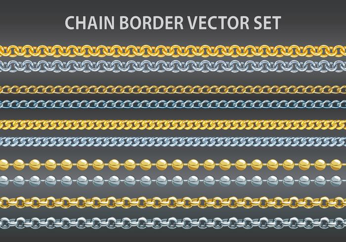 Chain border vector set