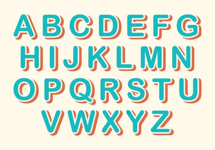 Free Rounded Retro Alphabet Vector