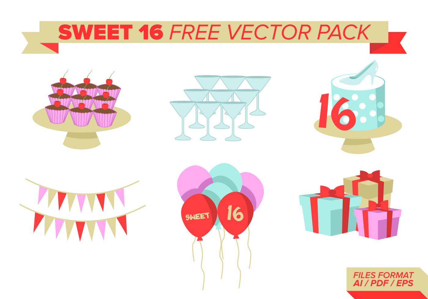 Sweet 16 Free Vector Pack Download Free Vector Art