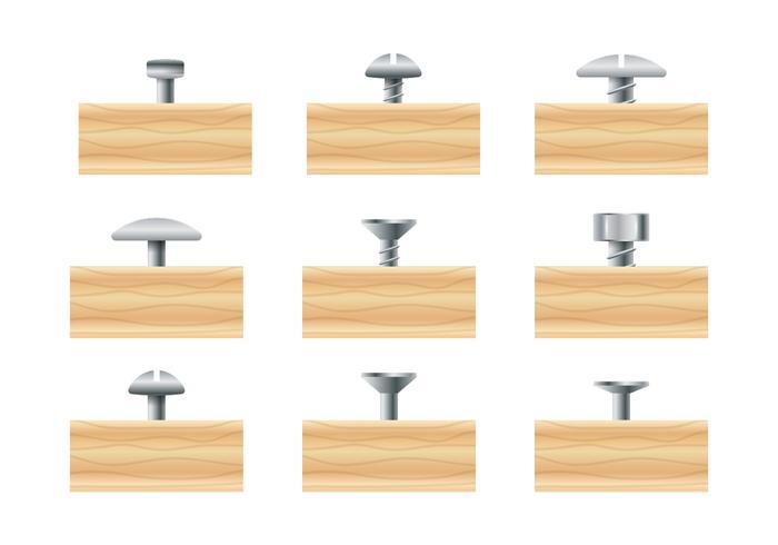 Tête de clou sur bois vecteur