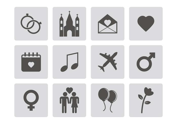 Free Wedding Icons Vector
