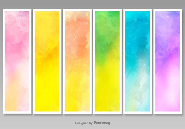 Vector lege waterverfde banners - Set van 6