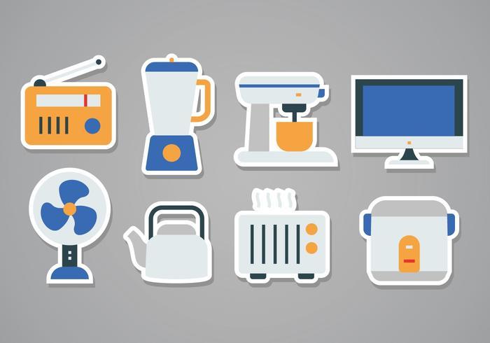 Free Home Appliances Aufkleber Icon Set vektor