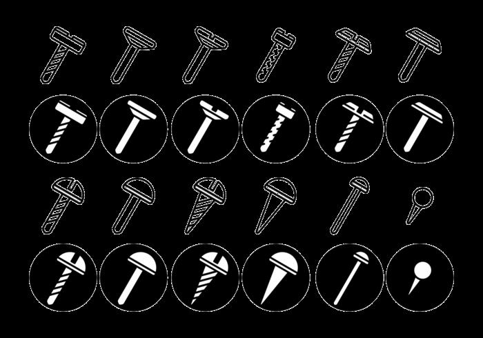 Schrauben / Muttern / Nagel Vektor Icon