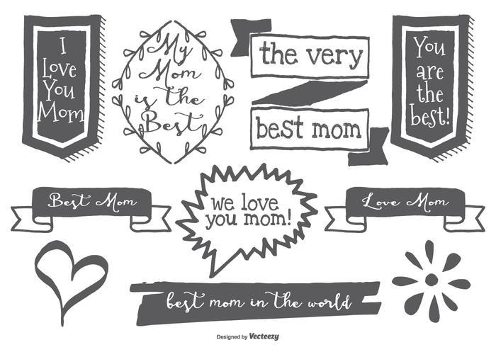 Söta Handdragen Mamma Etiketter