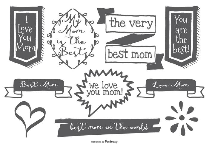 Cute Hand Drawn Mom Labels
