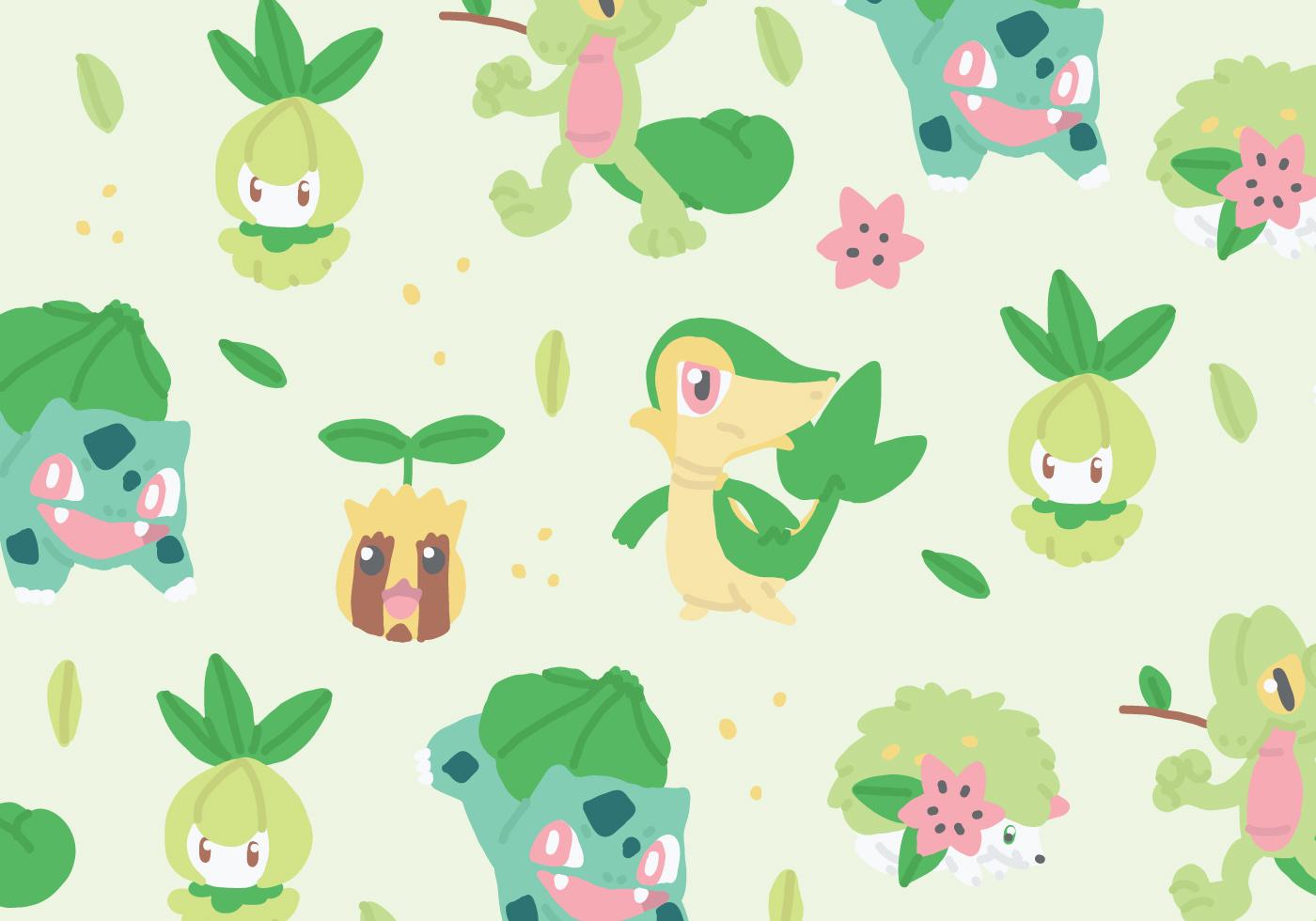 Grass Type Pokemon Pattern Download Free Vectors Clipart