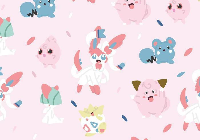 Fairy Type Pokemon Pattern vector