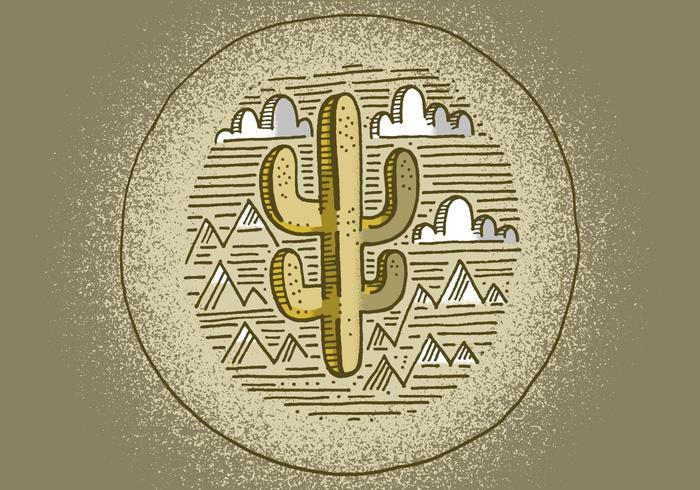 Southwestern Cactus Badge vector