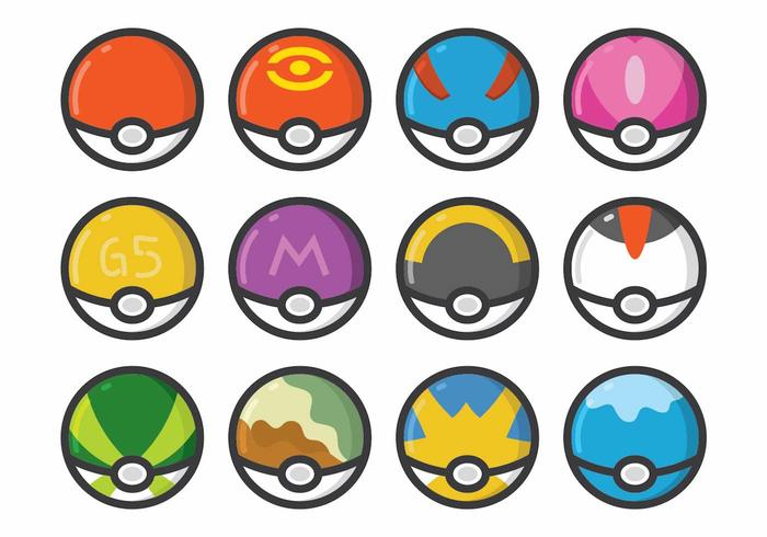Pokemon Poke Ball Set vektor