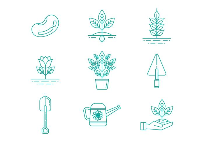 Free Gardening Line Icons Vector