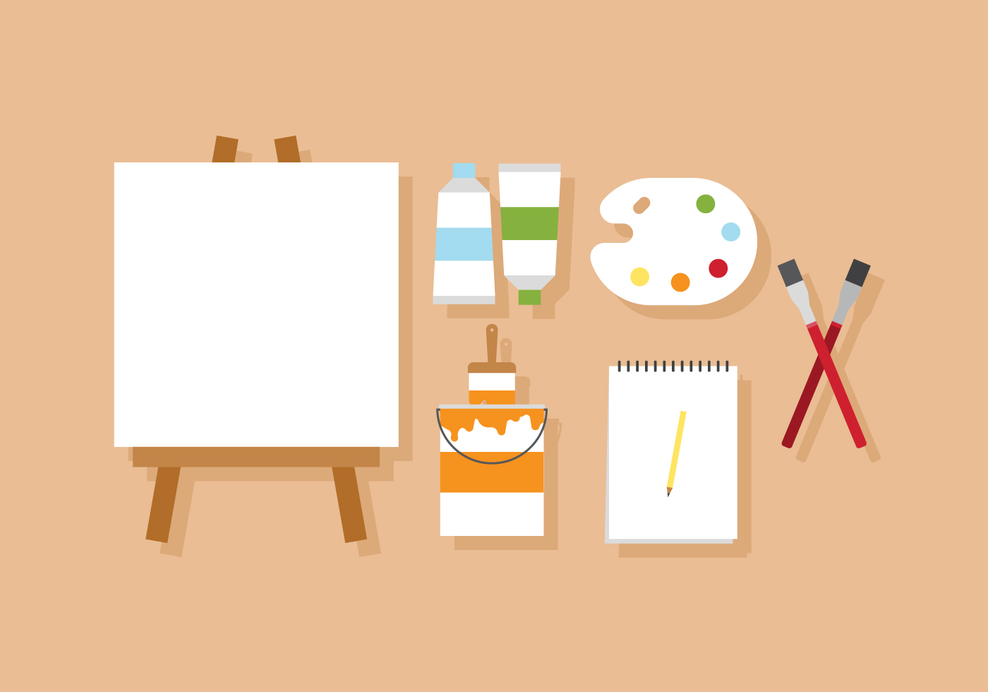 Vector Painting and Artist\'s Easel - Download Free Vector Art, Stock ...
