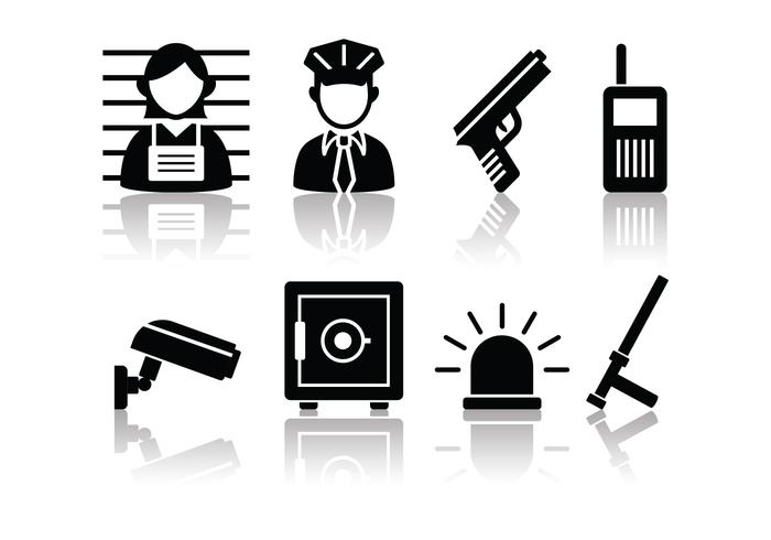 Free Minimalist Police And Crime Icon Set vector