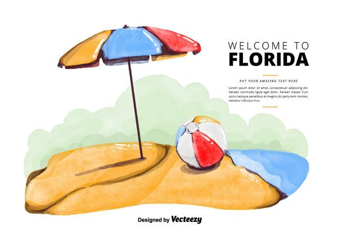 Gratis Florida Beach vattenfärg vektor
