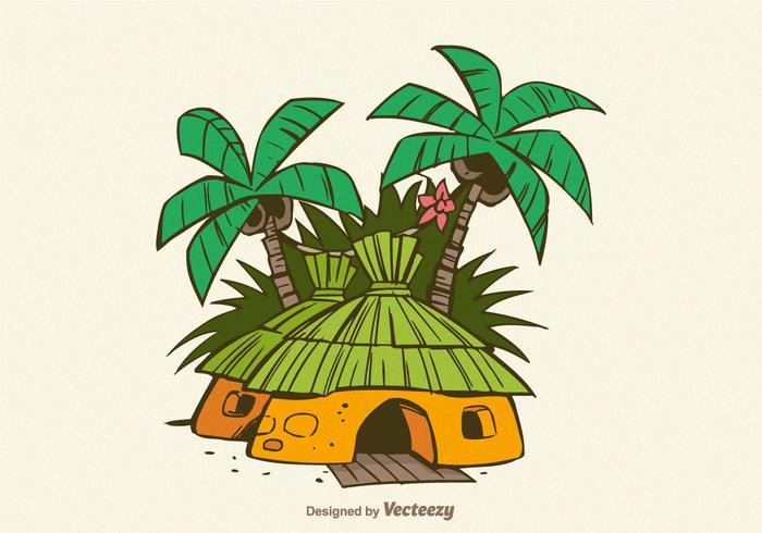 Kostenlose Dschungel-Shack-Vektor-Illustration