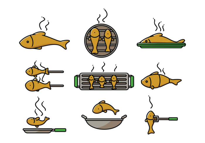 Fish Fry Icons Vector