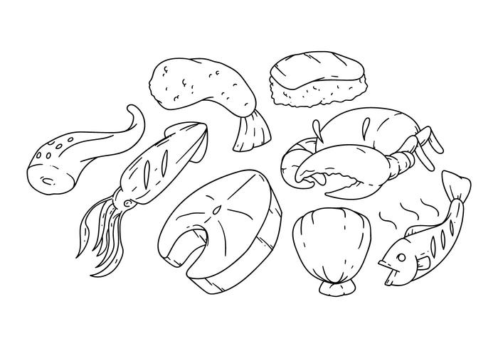 Free Hand Drawing Seafood Icon Vector