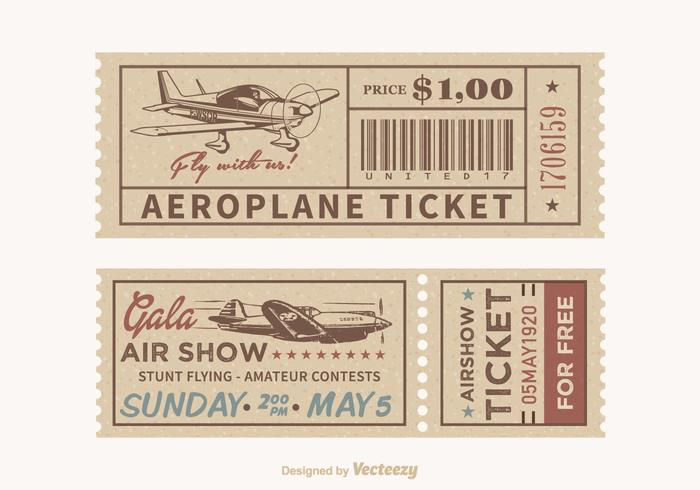 Free Vector Retro Airplane Tickets