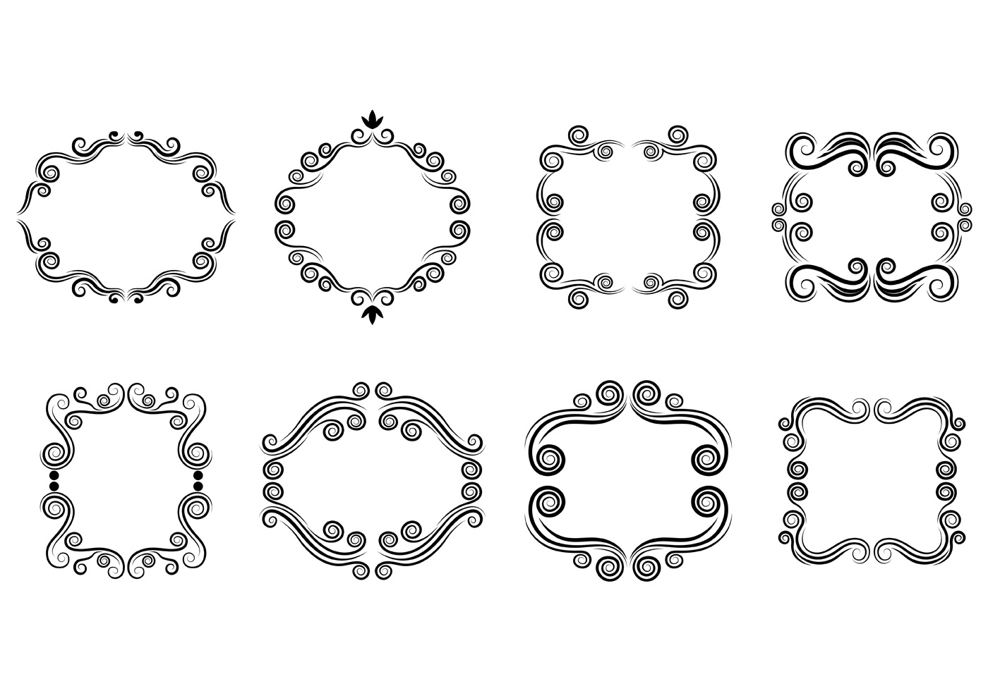 Set Of Scrollwork Cartouche Vector