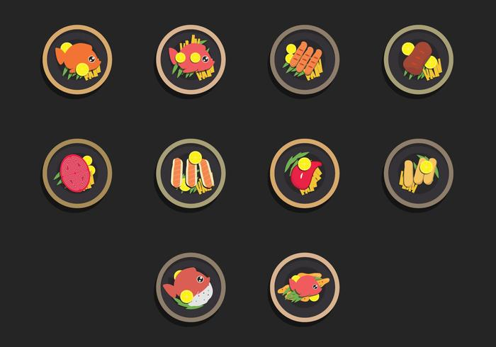Fish Fry Icon Set de alimentos vector