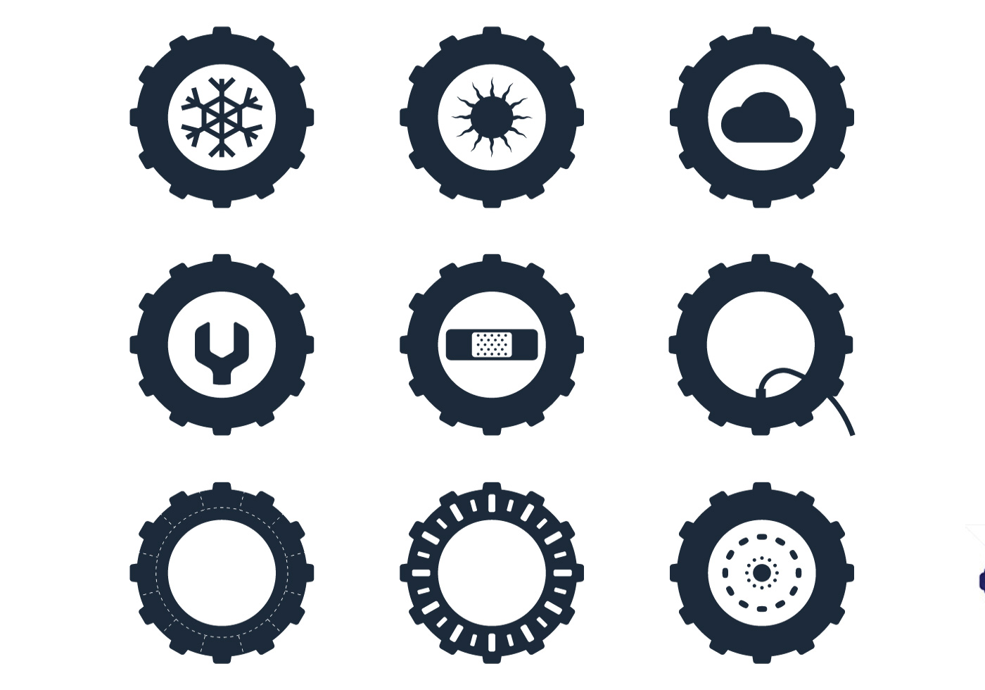 Tractor Parts Icon : Tractor tire icons download free vector art stock