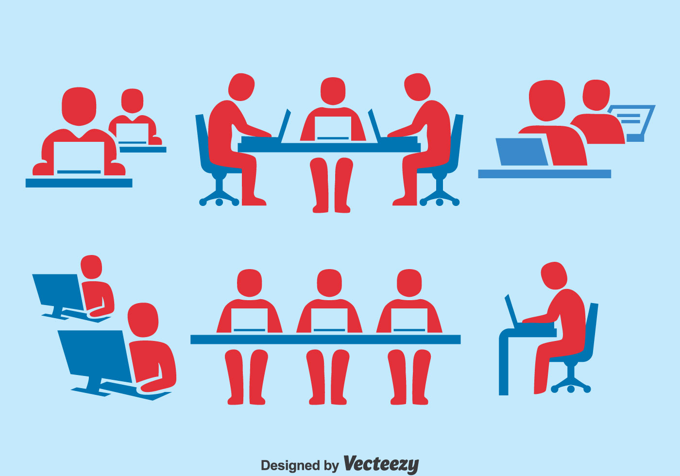 Business Office Paint Colors People Working Together Icons Set Download Free Vector
