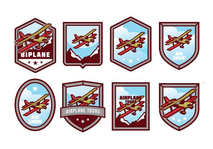 Free Biplane Badge Vector Pack