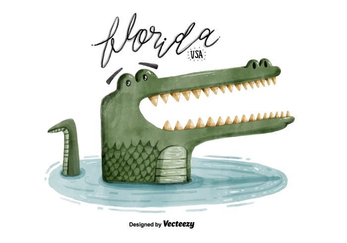 Gratis Florida Alligator vattenfärg Vector