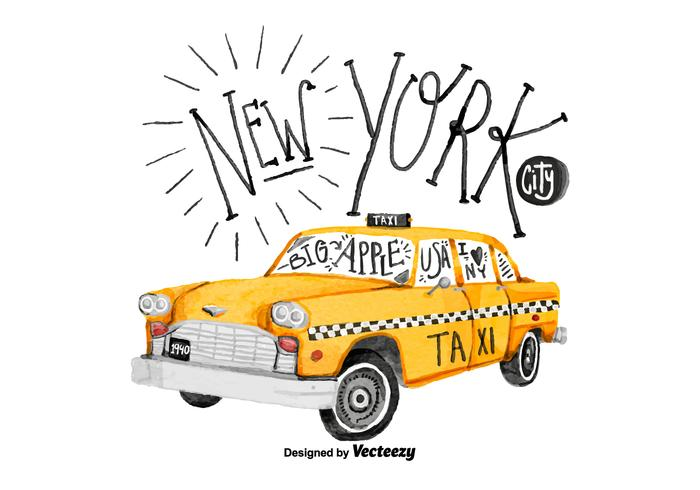 Free New York Taxi Watercolor Vector
