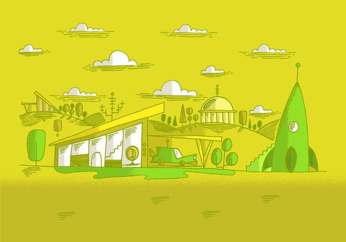 Midcentury Future Landscape Vector