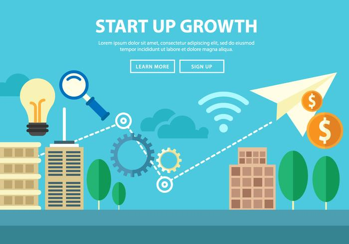 Free Start Up Growth Illustration Landing Page Vector