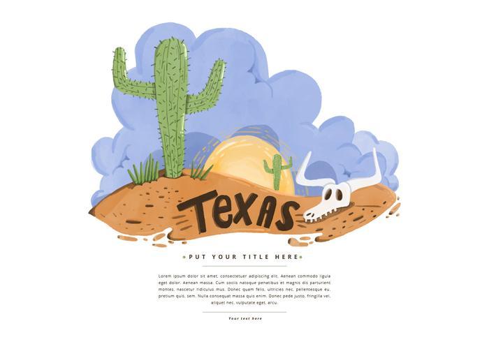 Texas Desert Watercolor Vector gratuito