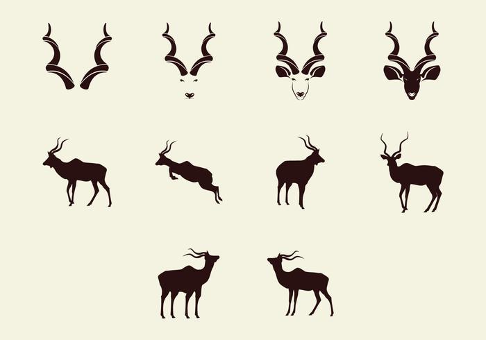 Kudu silhuett ikonuppsättning