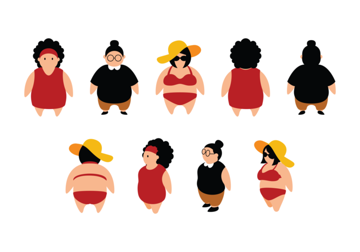 Plus Size Mädchen Cartoon vektor