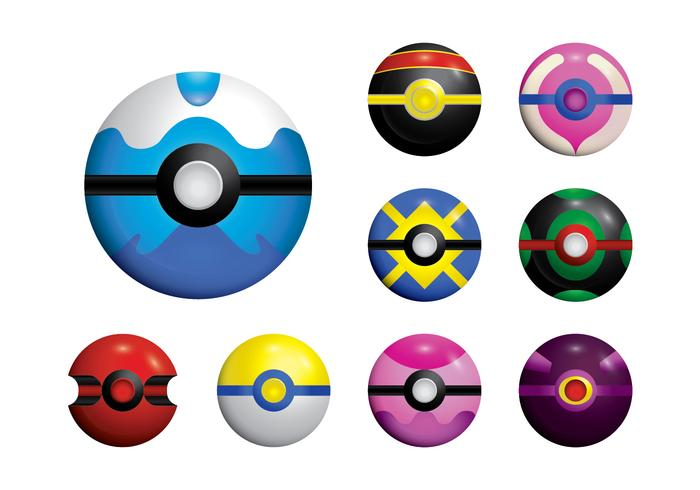 Pokemon Ball Set Vector