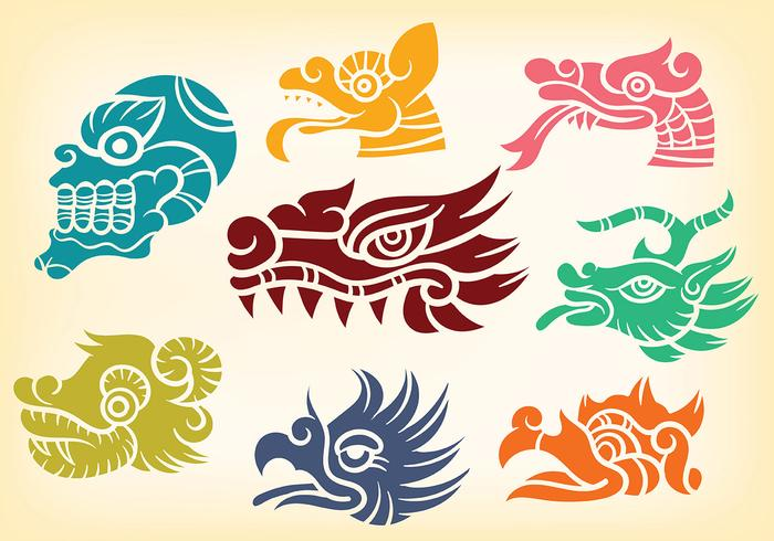Decorativo Quetzalcoatl Iconos Vector