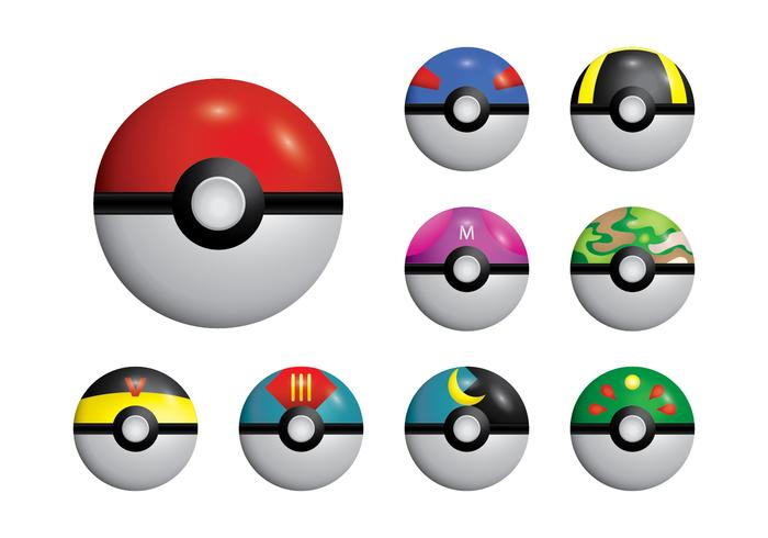 Poke Ball Set Vector