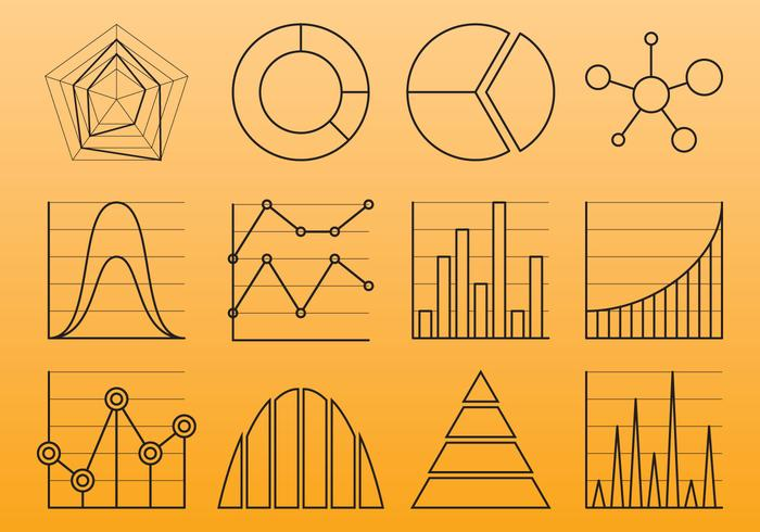Chart Line Icons vector