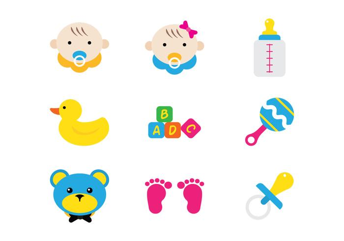 Baby Flat Icons vector