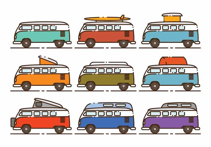Conjunto Minimalista de ícones VW Camper