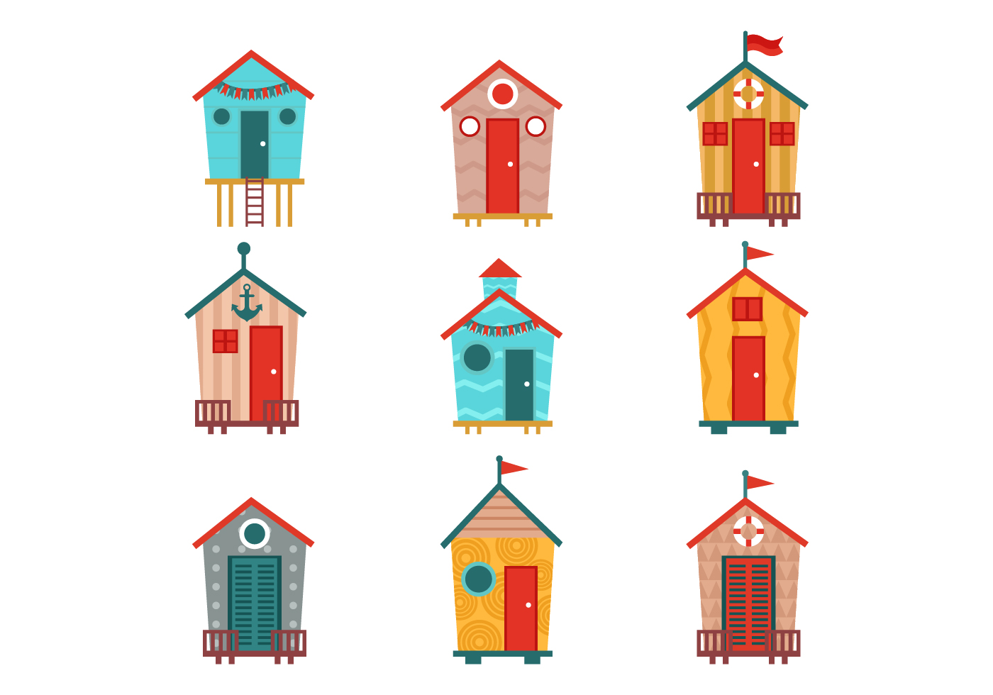 Free Various Of Beach Hut Vectors Download Free Vector