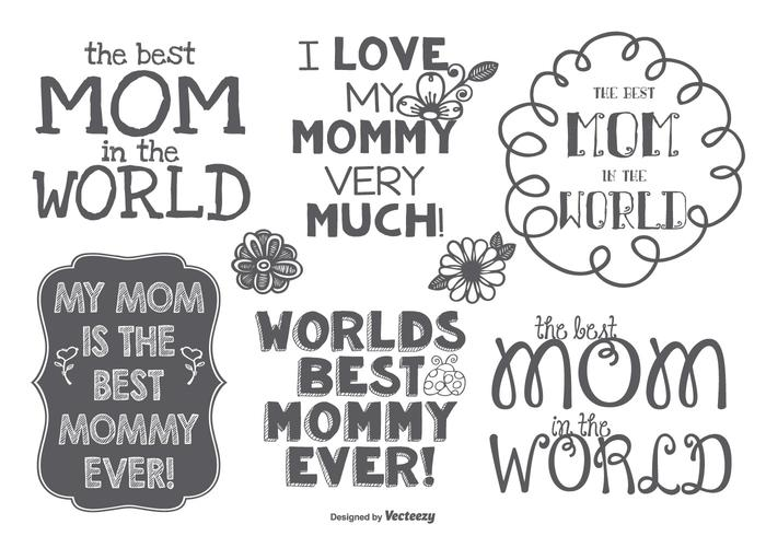 Best Mommy Hand Drawn Label Set