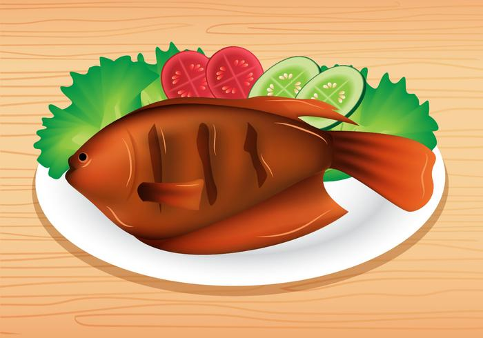 Grilled Fish vector