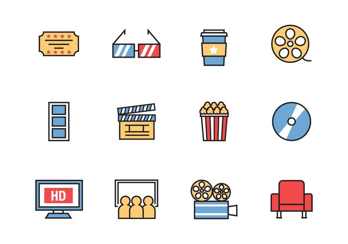 Free Cinema Icons Line Style Vector