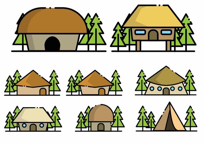 Minimalist Shack Icon Set