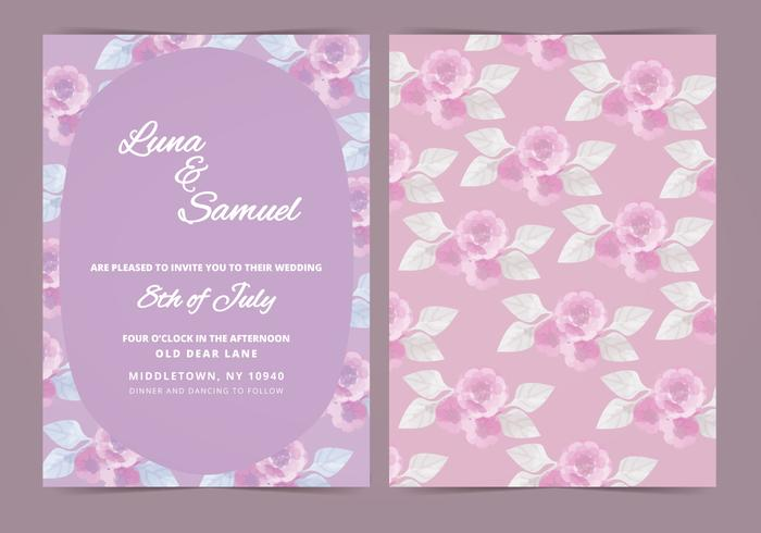 Vector Lilac Flower Wedding Invite