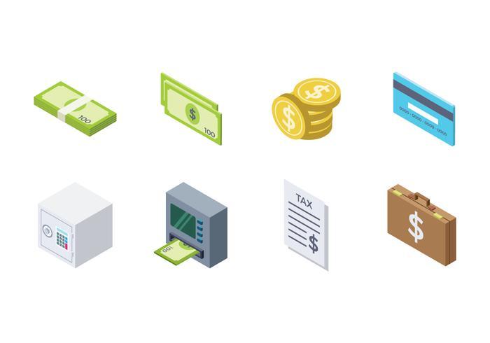 Icône d'argent isométrique gratuite vecteur