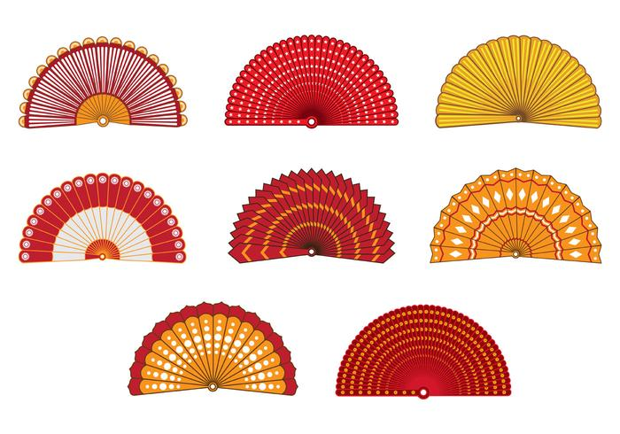 Conjunto de coloridos ventilador español vector